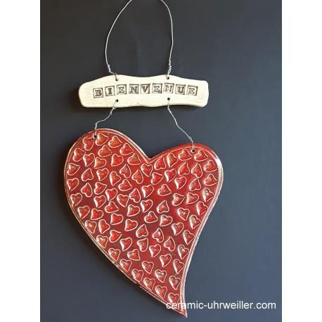 """Décor de porte """"Bienvenue"""" coeur rouge cerise"""