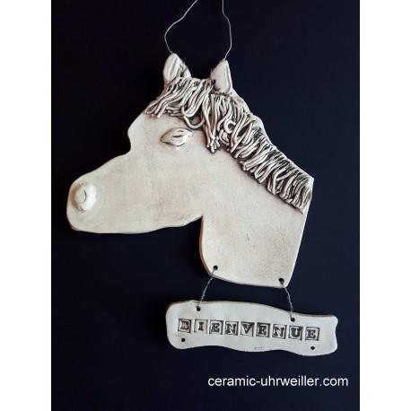 """Décor de porte """"BIENVENUE"""" tête de cheval"""